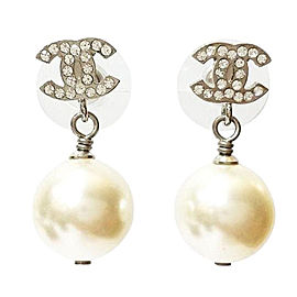 Chanel Classic Silver CC Rhinestone Pearl Dangle Piercing Earrings