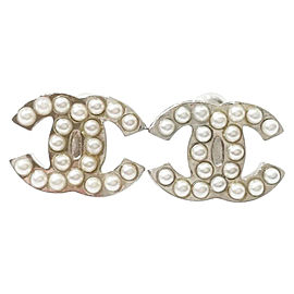 Chanel Classic Silver-Tone Metal CC Faux Pearl Earrings