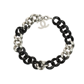 Chanel Silver Tone Metal Black Resin CC Curb Chain Necklace