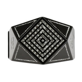 Chanel CC Plastic Black Resin Crystal Geometric Hinge Cuff Bracelet