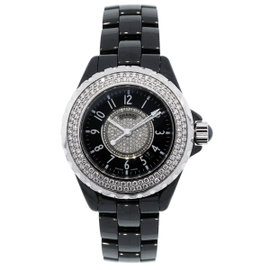 Chanel J12 H1708 Ceramic Diamond Bezel Black Dial 33mm Womens Watch