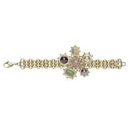 Chanel 08P CC Logo Silver Tone Pastel Bracelet