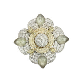 Chanel Gold & Silver Tone Gripoix Glass Brooch