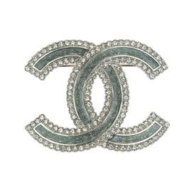Chanel CC Logo Silver-Tone Rhinestones Green Enamel Brooch