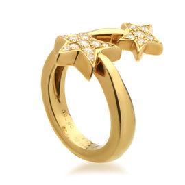Chanel Comete Yellow Gold Diamond Ring Size 5.75