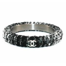 Chanel 09 Black Gray Tweed Wool CC Bangle Fall Bracelet And Box