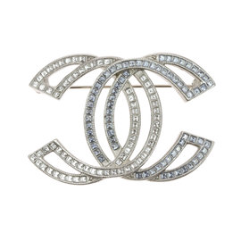 Chanel Crystal Matte Gold Tone CC Cut-Out Brooch