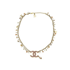 Chanel CC Gold Tone Pink Rhinestone and Faux Pearl Necklace