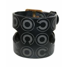 Chanel Black Leather C O C O Logo Brass Double Buckle Cuff Bracelet