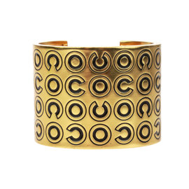 Chanel Gold Tone Metal Coco Black Cuff Bracelet