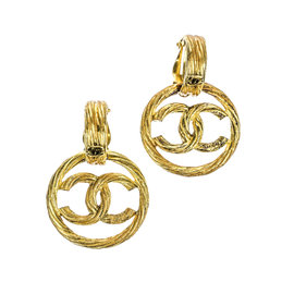 Chanel 93P Gold Tone CC Logo Round Earrings