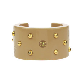 Chanel CC Gold Tone Tan Resin Studded Cuff Bracelet