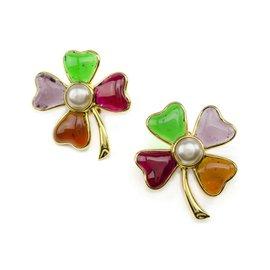 Chanel Four Leaf Clover Gripoix Earrings