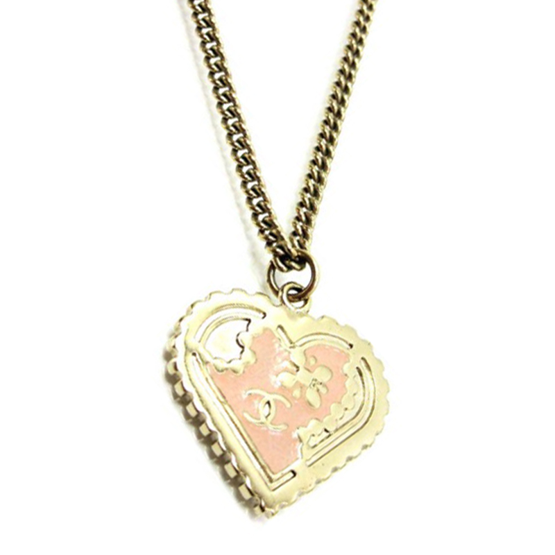 "Image of ""Chanel Gold Tone Metal Heart Coco Mark Necklace"""