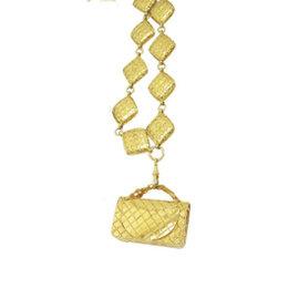 Chanel Gold Tone Hardware Matelasse Necklace