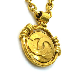 Chanel Mirror and Gold Tone Hardware CC Logo Necklace