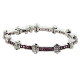 Charriol 18K White Gold Pink Sapphire & Diamond Bracelet