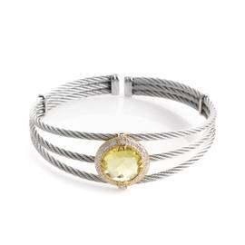Charriol Celtic Cable 18K Stainless Steel Lemon Citrine & Diamond Bangle Bracelet