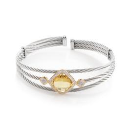Charriol Celtic Cable 18K Stainless Steel Yellow Citrine & Diamond Bangle Bracelet