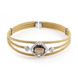 Charriol Celtic Cable 18K Stainless Steel Smokey Quartz & Diamond Bangle Bracelet