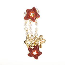 Chaumet 18K Yellow Gold Floral Gemstone Pin