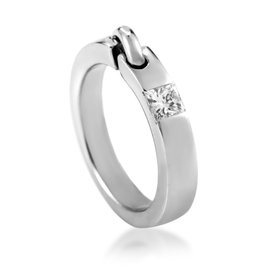 Chaumet 18K White Gold Liens Diamond Band Ring