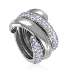 Chaumet 18K White Gold Partial Diamond Pave Two-Part Band Ring Size