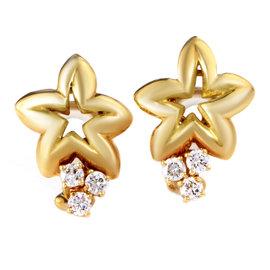 Chaumet 18K Yellow Gold Diamond Star Clip-On Earrings