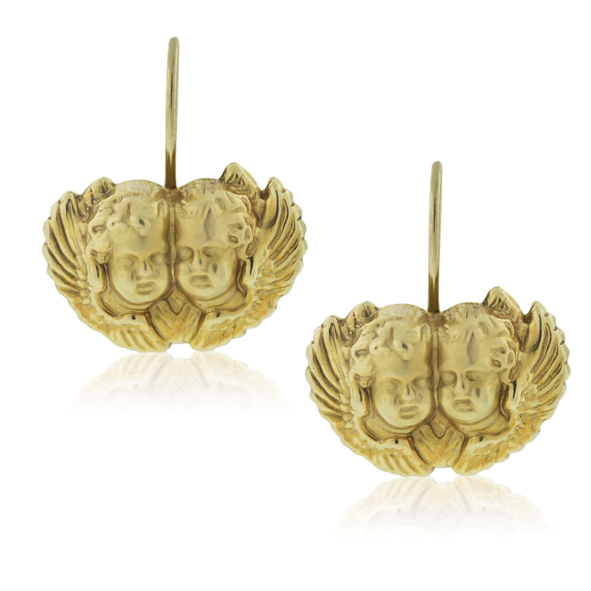 "Image of ""18K Yellow Gold Cherub Hook Earrings"""
