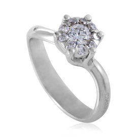 Chimento 18K White Gold .50ct Diamond Solitaire Engagement Ring Size 7.0