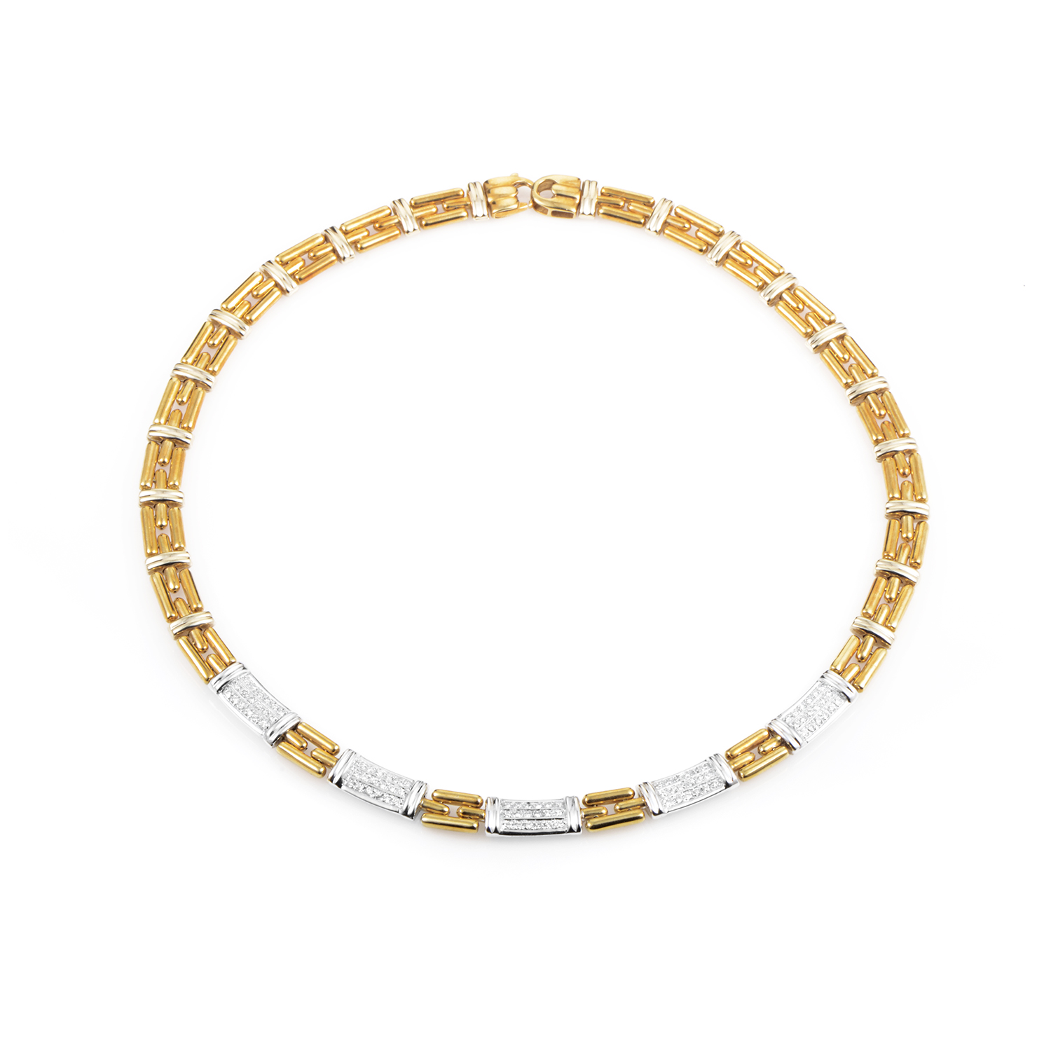 "Image of ""Chimento 18K Multi-Tone Gold & Diamond Link Necklace"""