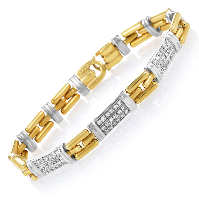 "Image of ""Chimento 18K Multi-Tone Gold & Diamond Link Bracelet"""