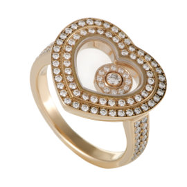 Chopard Happy Diamonds Womens 18K Rose Gold Diamond Pave Heart Ring Size 5.5