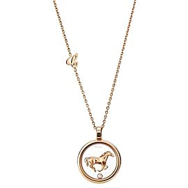 Chopard 18K Rose Gold and Diamond Animal World Horse Necklace