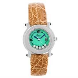 Chopard Happy Sport 27/8245-23 Stainless Steel & Leather Green Mother Pearl Dial 26mm Womens Watch