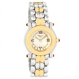 Chopard Happy Sport 27/8278 Stainless Steel/18K Yellow Gold Floating Diamonds 26mm Womens Watch