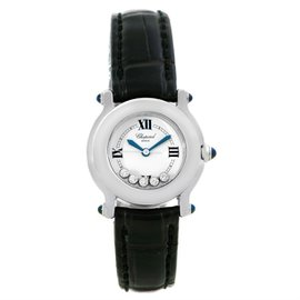 Chopard Happy Sport 27/8245-23 Stainless Steel & Leather White Dial wFloating Diamond 26mm Womens Watch