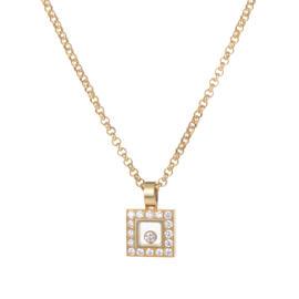 Chopard Happy Diamonds 18K Yellow Gold & Diamond Pave Square Pendant Necklace