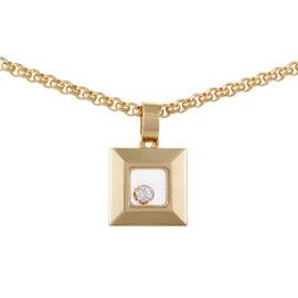 Chopard Happy 18K Yellow Gold Diamonds Square Pendant Necklace