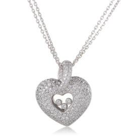 Chopard 18K White Gold & Diamond Pave Heart Pendant Necklace
