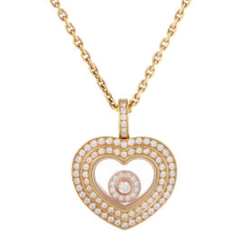 Chopard Happy Diamonds 18K Rose Gold Pave Heart Pendant Necklace