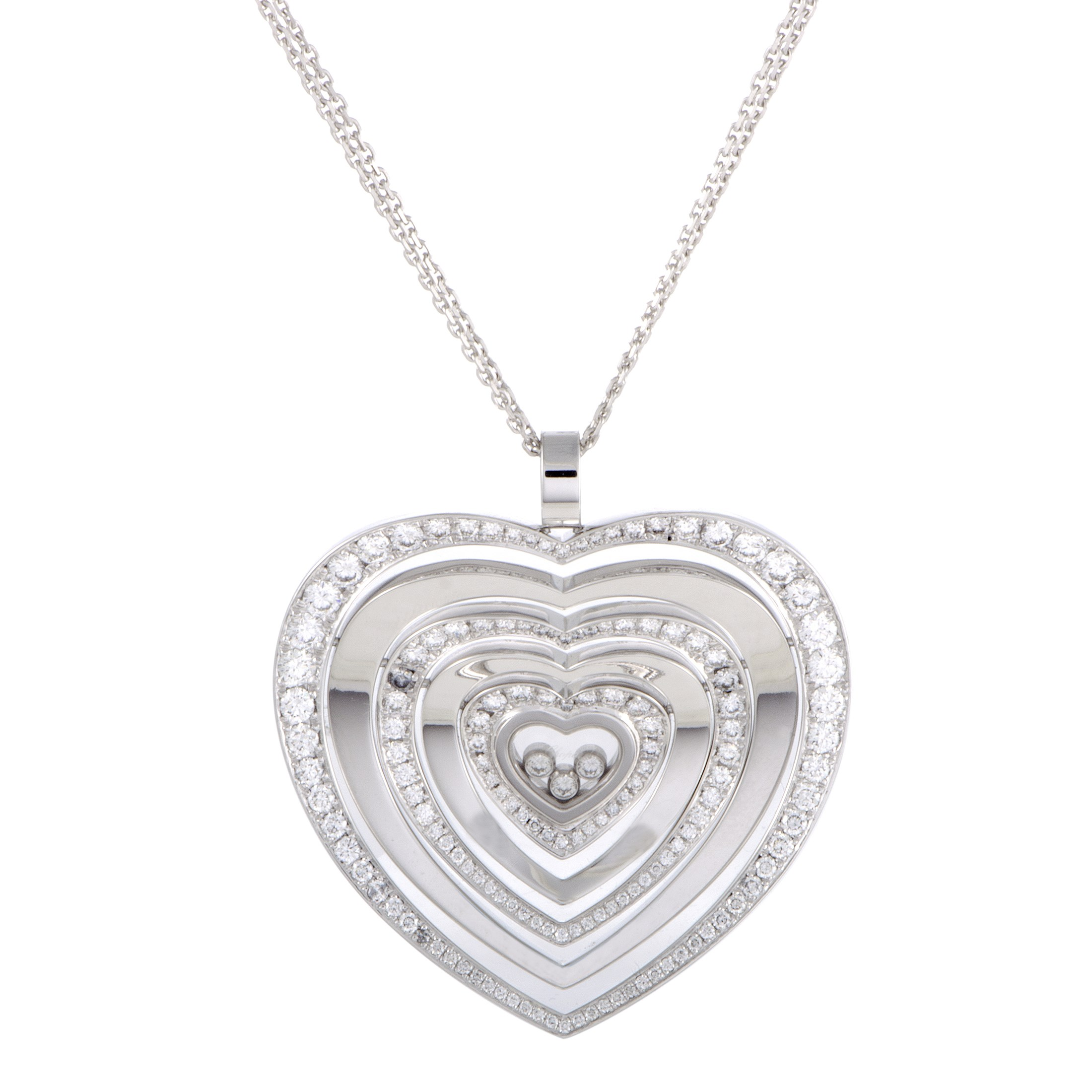 "Image of ""Chopard Happy Diamonds 18K White Gold Diamonds Large Heart Pendant"""