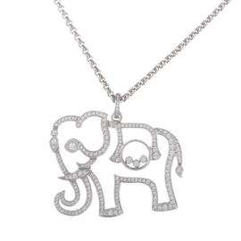 Chopard 18K White Gold & Diamond Pave Elephant Pendant Necklace