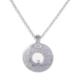 Chopard 18K White Gold with Floating Diamond Pendant Necklace