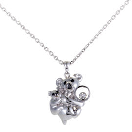 Chopard 18K White Gold Diamond and Onyx Koala Pendant Necklace