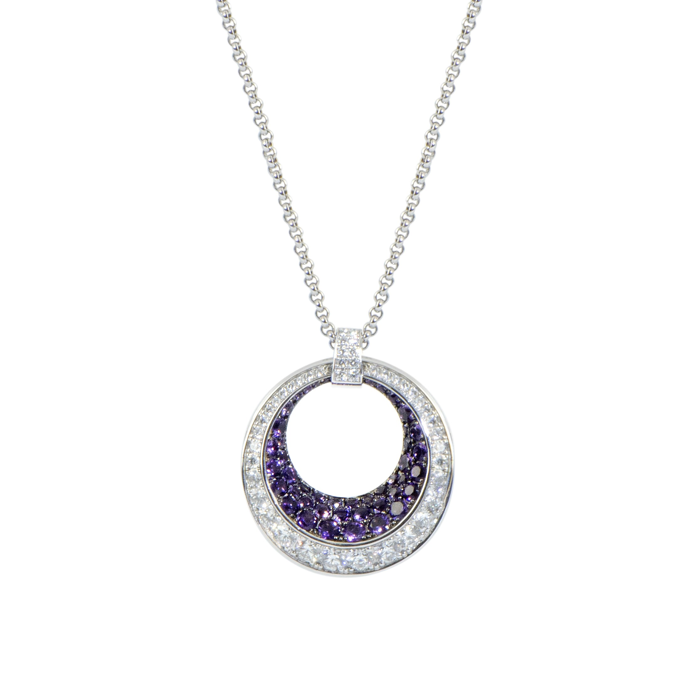 "Image of ""Chopard 18K White Gold Diamond and Amethyst Pave Large Ring Pendant"""