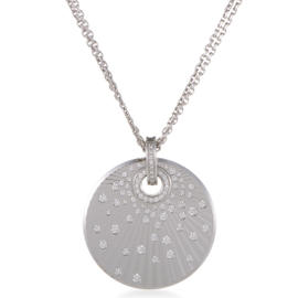 Chopard 18K White Gold Diamond Disc Pendant Necklace