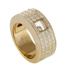 Chopard Happy Diamonds Womens 18K Yellow Gold Diamond Pave Band Ring Size 7.5