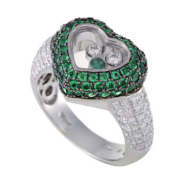 Chopard Happy Diamonds Womens 18K White Gold Diamond and Emerald Pave Heart Ring Size 6.75