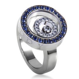 Happy Spirit 18K White Gold Sapphire Pave and Floating Diamond Ring Size 6.5